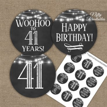 41st Birthday Cupcake Toppers - Chalkboard Lights