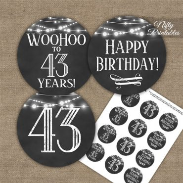 43rd Birthday Cupcake Toppers - Chalkboard Lights