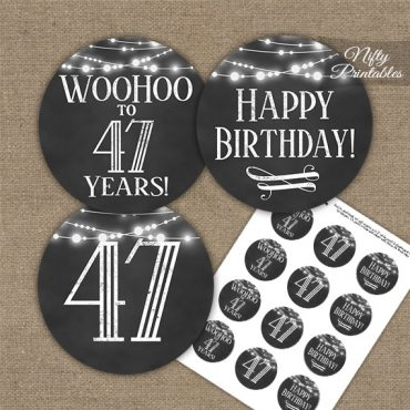 47th Birthday Cupcake Toppers - Chalkboard Lights
