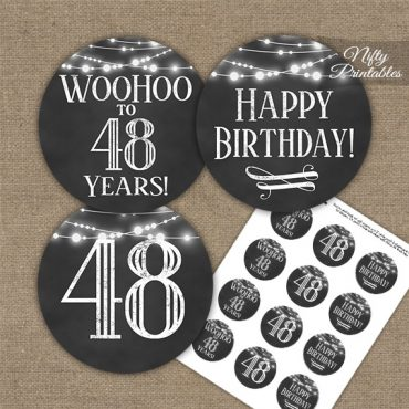 48th Birthday Cupcake Toppers - Chalkboard Lights
