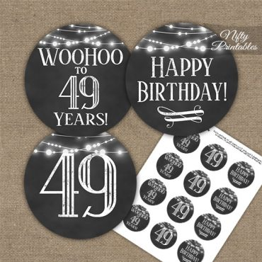 49th Birthday Cupcake Toppers - Chalkboard Lights