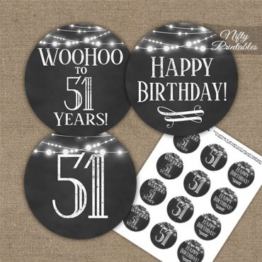 51st Birthday Cupcake Toppers - Chalkboard Lights
