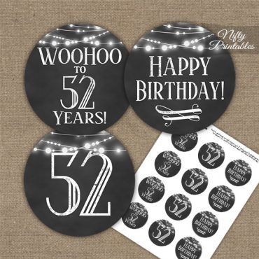 52nd Birthday Cupcake Toppers - Chalkboard Lights