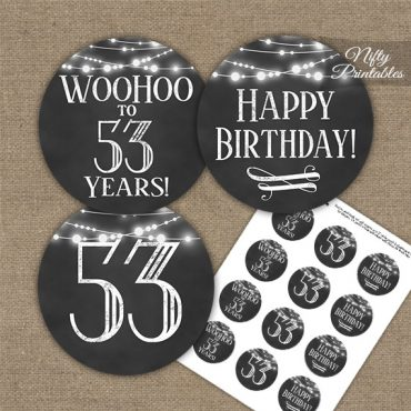 53rd Birthday Cupcake Toppers - Chalkboard Lights