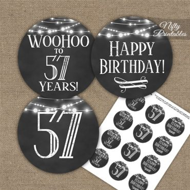 57th Birthday Cupcake Toppers - Chalkboard Lights