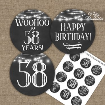 58th Birthday Cupcake Toppers - Chalkboard Lights