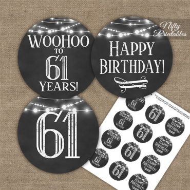 61st Birthday Cupcake Toppers - Chalkboard Lights
