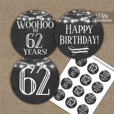 62nd Birthday Cupcake Toppers - Chalkboard Lights
