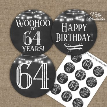64th Birthday Cupcake Toppers - Chalkboard Lights