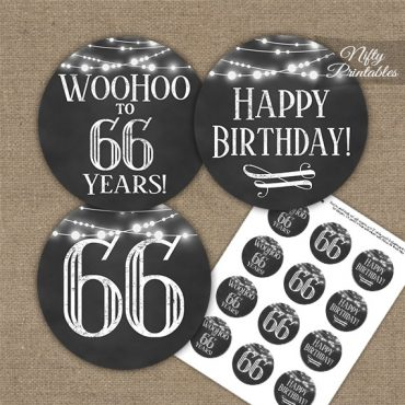 66th Birthday Cupcake Toppers - Chalkboard Lights