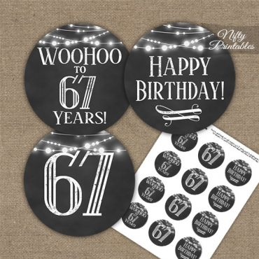 67th Birthday Cupcake Toppers - Chalkboard Lights