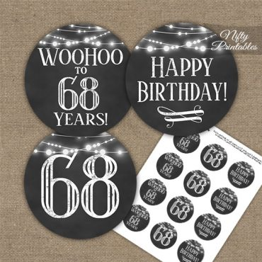 68th Birthday Cupcake Toppers - Chalkboard Lights