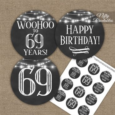 69th Birthday Cupcake Toppers - Chalkboard Lights
