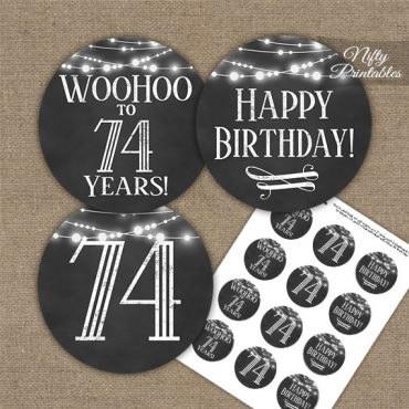 74th Birthday Cupcake Toppers - Chalkboard Lights