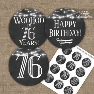 76th Birthday Cupcake Toppers - Chalkboard Lights