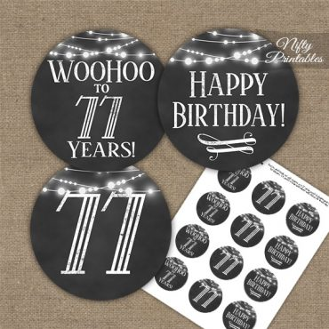 77th Birthday Cupcake Toppers - Chalkboard Lights
