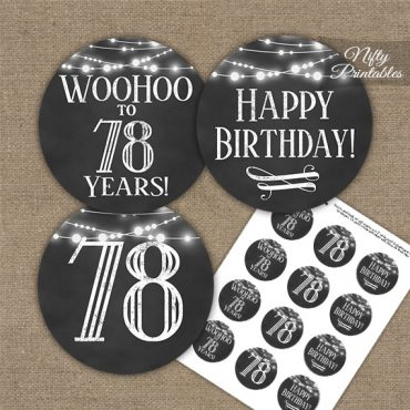 78th Birthday Cupcake Toppers - Chalkboard Lights