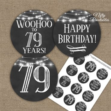 79th Birthday Cupcake Toppers - Chalkboard Lights
