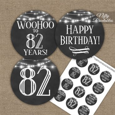 82nd Birthday Cupcake Toppers - Chalkboard Lights