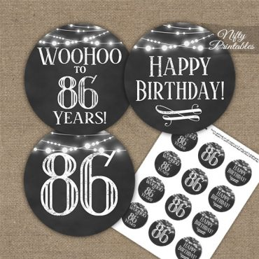 86th Birthday Cupcake Toppers - Chalkboard Lights