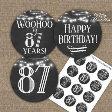 87th Birthday Cupcake Toppers - Chalkboard Lights
