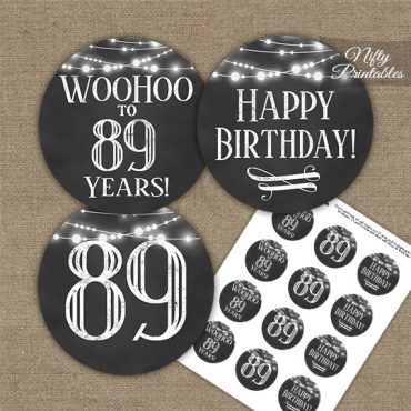89th Birthday Cupcake Toppers - Chalkboard Lights