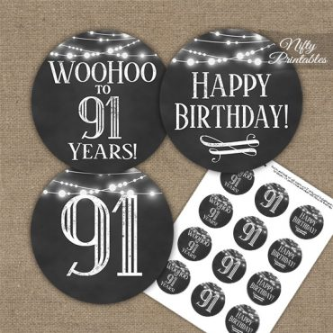 91st Birthday Cupcake Toppers - Chalkboard Lights