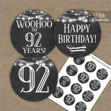 92nd Birthday Cupcake Toppers - Chalkboard Lights