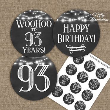 93rd Birthday Cupcake Toppers - Chalkboard Lights