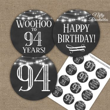 94th Birthday Cupcake Toppers - Chalkboard Lights