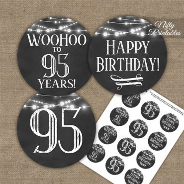 95th Birthday Cupcake Toppers - Chalkboard Lights