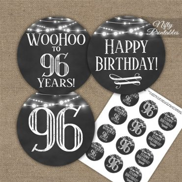 96th Birthday Cupcake Toppers - Chalkboard Lights