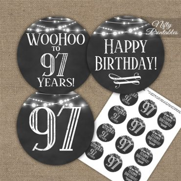 97th Birthday Cupcake Toppers - Chalkboard Lights