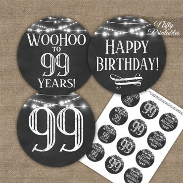 99th Birthday Cupcake Toppers - Chalkboard Lights