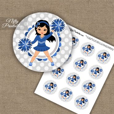Cute Blue Cheerleader - Black Hair - Cupcake Toppers