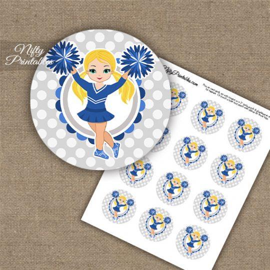 Cute Blue Cheerleader - Blonde Hair - Cupcake Toppers