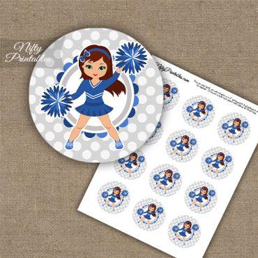 Cute Blue Cheerleader - Brunette - Cupcake Toppers