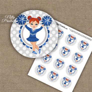 Cute Blue Cheerleader - Red Hair - Cupcake Toppers