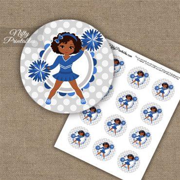Cute Blue Cheerleader - African American - Cupcake Toppers