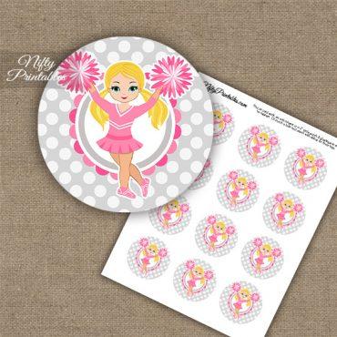 Cute Pink Cheerleader - Blonde Hair - Cupcake Toppers