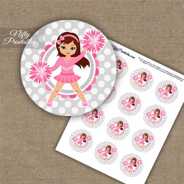 Cute Pink Cheerleader - Brunette - Cupcake Toppers