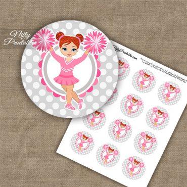 Cute Pink Cheerleader - Red Hair - Cupcake Toppers