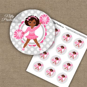 Cute Pink Cheerleader - African American - Cupcake Toppers