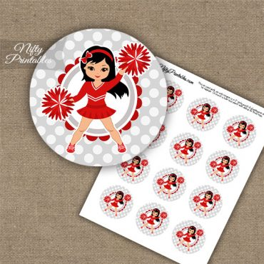 Cute Red Cheerleader - Black Hair - Cupcake Toppers