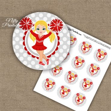 Cute Red Cheerleader - Blonde Hair - Cupcake Toppers