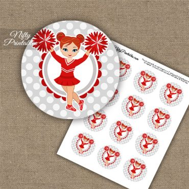 Cute Red Cheerleader - Red Hair - Cupcake Toppers