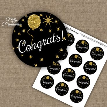 Congratulations Cupcake Toppers - Balloons Black