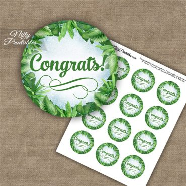 Congratulations Cupcake Toppers - Greenery
