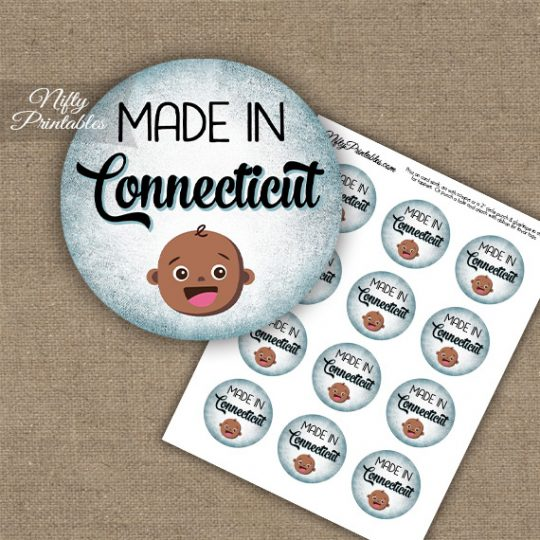Connecticut Black Baby - Blue Cupcake Toppers