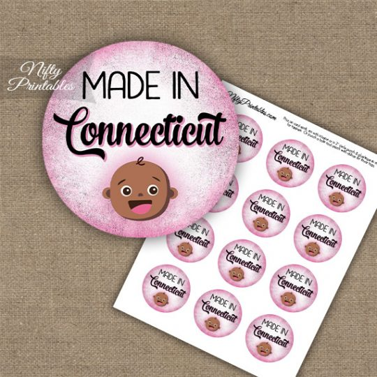 Connecticut Black Baby - Pink Cupcake Toppers
